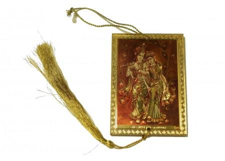 Оберег - Кришна с Радхой с павлиньими перьями