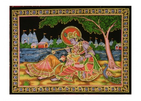 Панно - Кришна играет Радхе на берегу реки