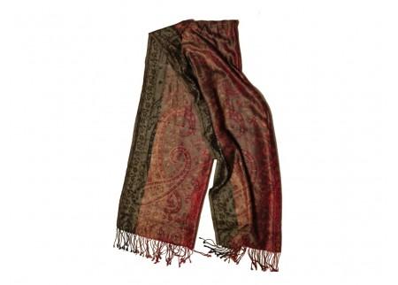 Шелковый жаккард, шарф «Раскалённый сапфир»