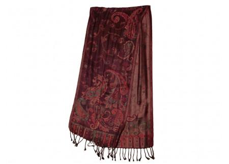 Шелковый жаккардовый шарф «Тёмная сирень»